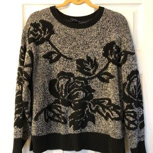 Gap Black and Gray Floral Soft Crewneck Sweater
